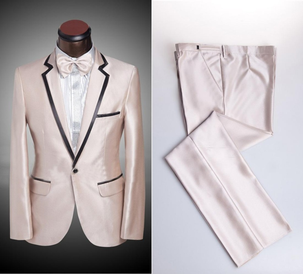 New Style Mens Suits Groomsmen Notch Lapel Groom Tuxedos Shiny Champagne Wedding Best Man Suit (Jacket+Pants+Bow Tie)