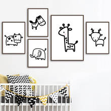 Animal Cartoon Poster Giraffe Elephant Canvas Painting Nursery Wall Art Nordic Poster Black And White Picture Kids Room Decor animal cartoon poster giraffe elephant canvas painting nursery wall art nordic poster black and white picture kids room decor