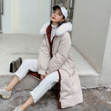 Winter Thicker Down Coats and Jackets Women High Waist Solid Parkas with Fur Hooded Ladies Clothes(China)