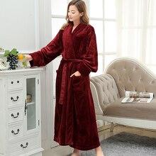 Vrouwen Extra Lange Zacht als Zijde Flanel Badjas Femme Winter Warme Badjas Bruid Kimono Dressing Gown Bruidsmeisje Gewaden Bruiloft