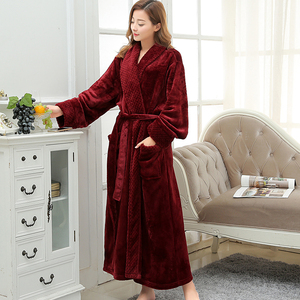 Image 1 - Women Extra Long Soft as Silk Flannel Bath Robe Femme Winter Warm Bathrobe Bride Kimono Dressing Gown Bridesmaid Robes Wedding
