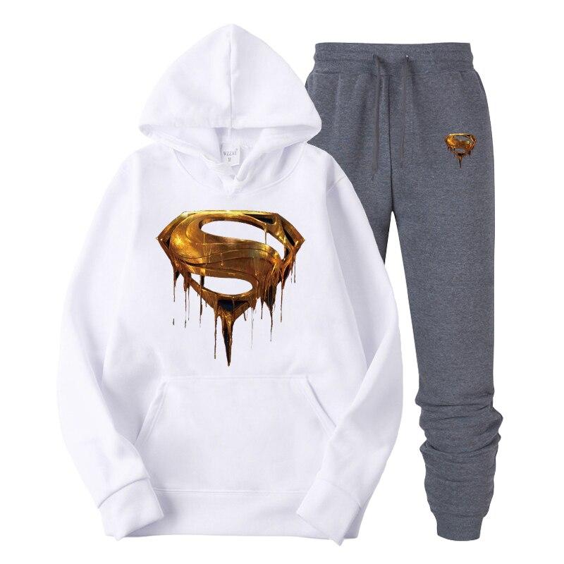 2019  New Design Mens Hoodies Cotton Golden American Superman Print Hoodie Man Fashion Casual Sweatshirt