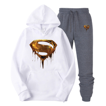 2019  New Design Mens Hoodies Cotton Golden American Superman Print Hoodie Man Fashion Casual Sweatshirt