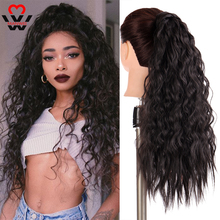 MANWEI Corn Wavy Long Ponytail Synthetic Hairpiece Wrap on Clip