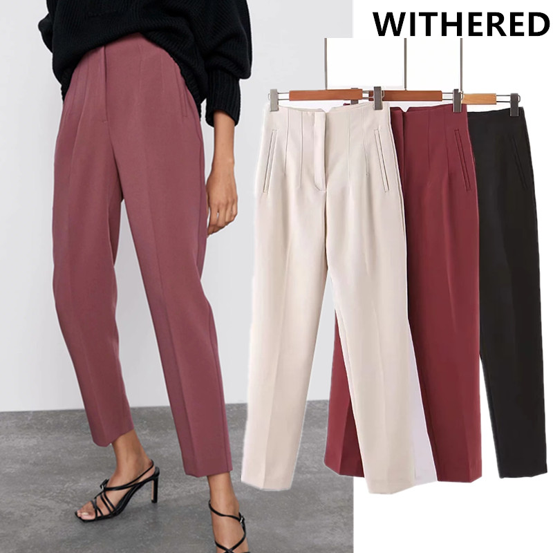 Withered England Style Office Lady Solid Suits Straight Pants Women Pantalones Mujer Pantalon Femme Trousers Women Jumpsuits