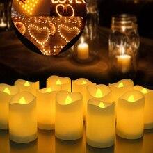 6/24 шт. беспламенные светодиодные свечи, чайный светильник, креативная лампа на батарейках, украшение светильник дома, свадьбы, дня рождения,...