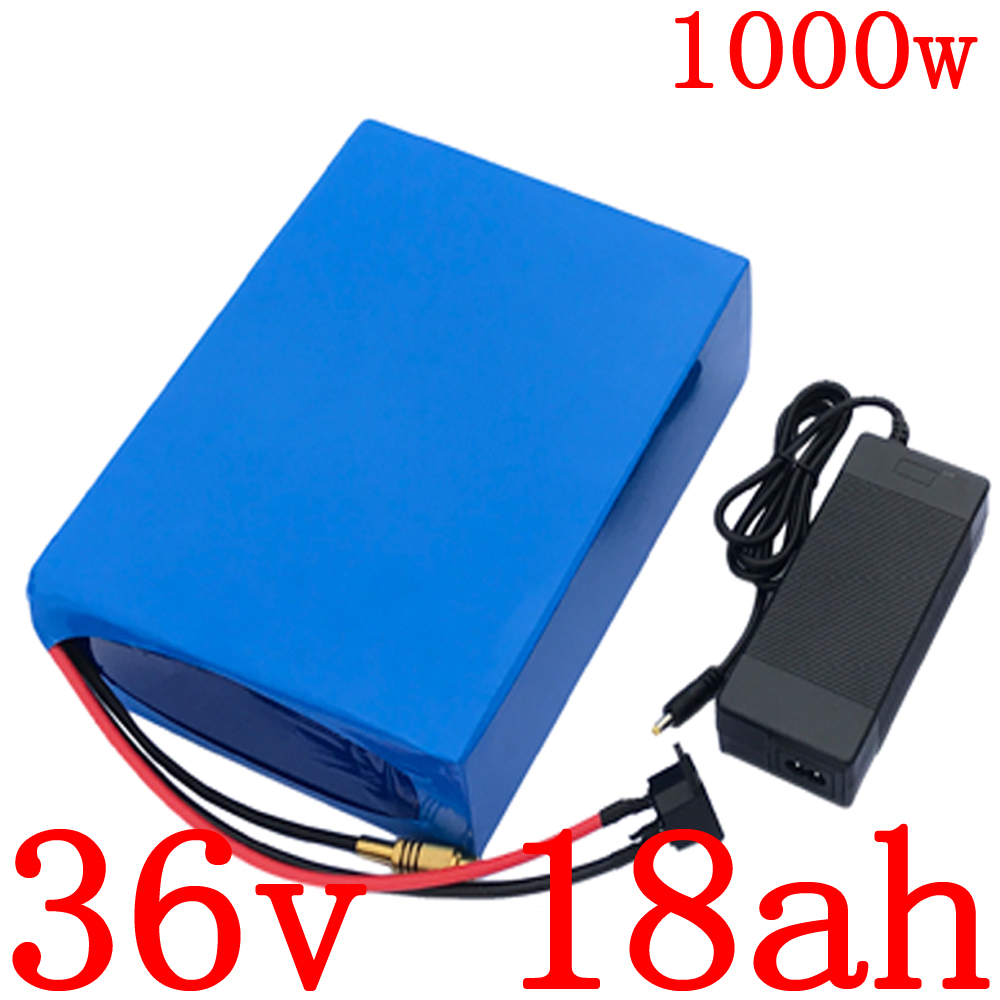 36V 500W 1000W electric scooter battery pack 36V 18AH electric bike battery 36V 18AH lithium battery with 30A BMS+42V 2A charger
