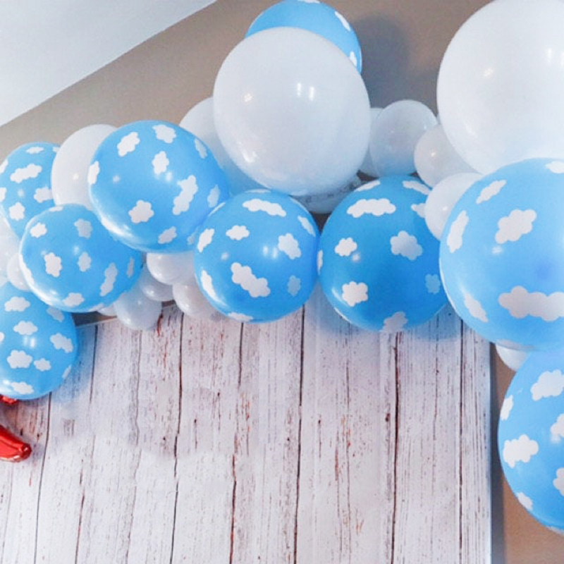 Blue Sky Cloud Latex Balloons Explorer Birthday Balloons Airplane Adventure Up Up and Away Baby Shower Party Cloud Balloons image