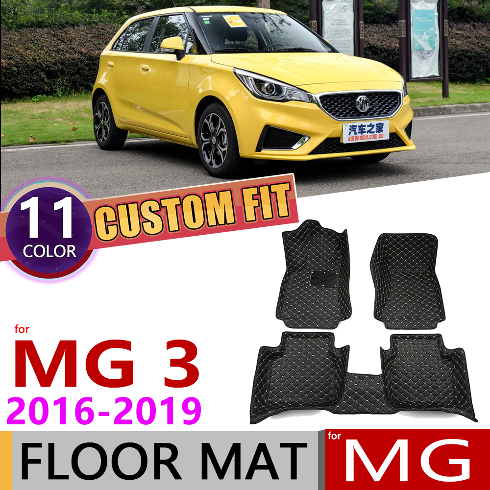 Custom Car Leather Floor Mats For MG 3 MG3 5 Seats 2016~2019 Waterproof Anti-dirty Auto Foot Pad Carpet Accessories 2017 2018