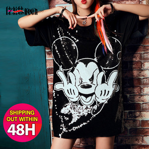 Runway Summer Women's Cartoon Print Sequined Tshirts Short Sleeve Round Neck Loose Hip Hop Fashion Streetwear Long T-shirt Tops