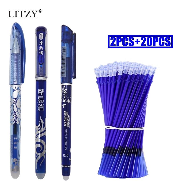2+20Pcs/Lot Erasable Pen Refill Set Erasable Washable Handle 0.5mm Blue Black Ink Magic Gel Pens For School Writing Tools Supply