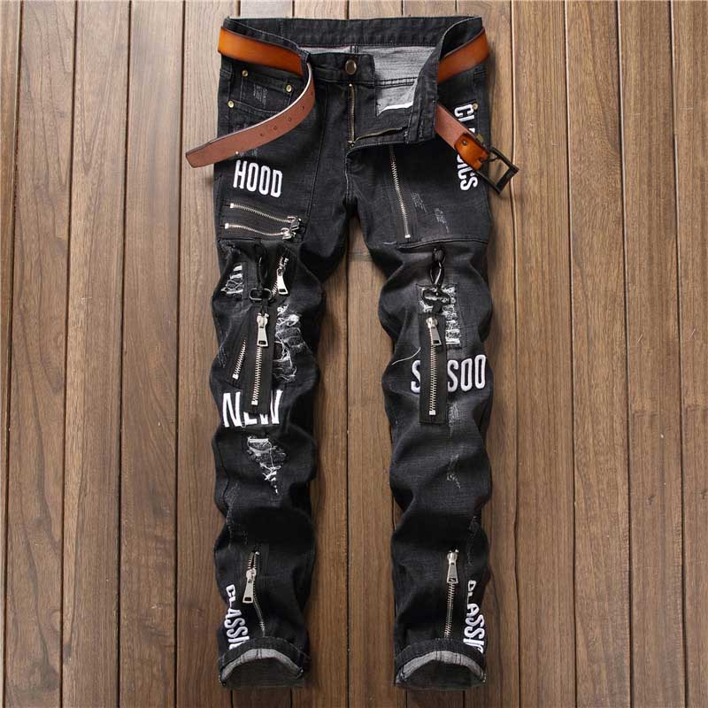 Mcikkny Fashion Men`s Hip Hop Ripped Jeans Pants Multi Zipper Patchwork Denim Trousers For Male Letter Embroidered (2)