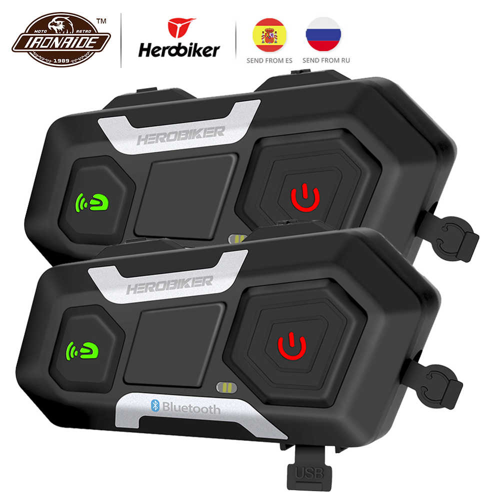 HEROBIKER Motor Intercom Tahan Air 1200M Bluetooth Intercom Helm Headset Moto Headset Nirkabel Headset Interfon