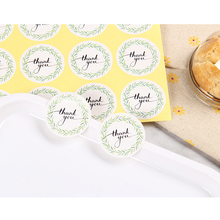 120Pcs/pack Green Leaf Wreath pattern Label Hand Made With Thank You Sticker Baking Gift Sealing Stickers