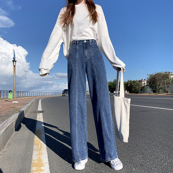 wide leg jeans for women blue loose pants high waist casual large size straight pants boyfriend straight mom jeans streetwear High Waist Mom Jeans for Women Boyfriend Denim Pants Plus Size Straight Vintage Streetwear Wide Leg Harajuku Trousers Autumn