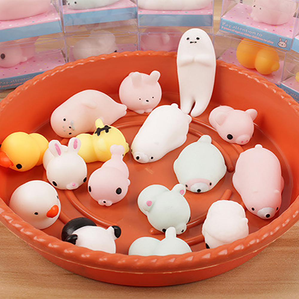 2/5 Pc Cute Mochi Cat Squeeze Healing Fun Kids Kawaii Toy Stress Reliever Decor Squeeze