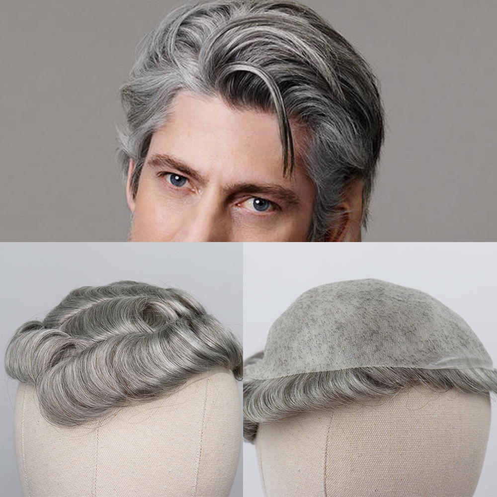 YY Wigs Thin PU Toupee For Men #5 Mixed Grey Hair Replacement 8x10 Human Hair Men Toupee 8x10 6 Inch Curly Hair Style Men Wigs