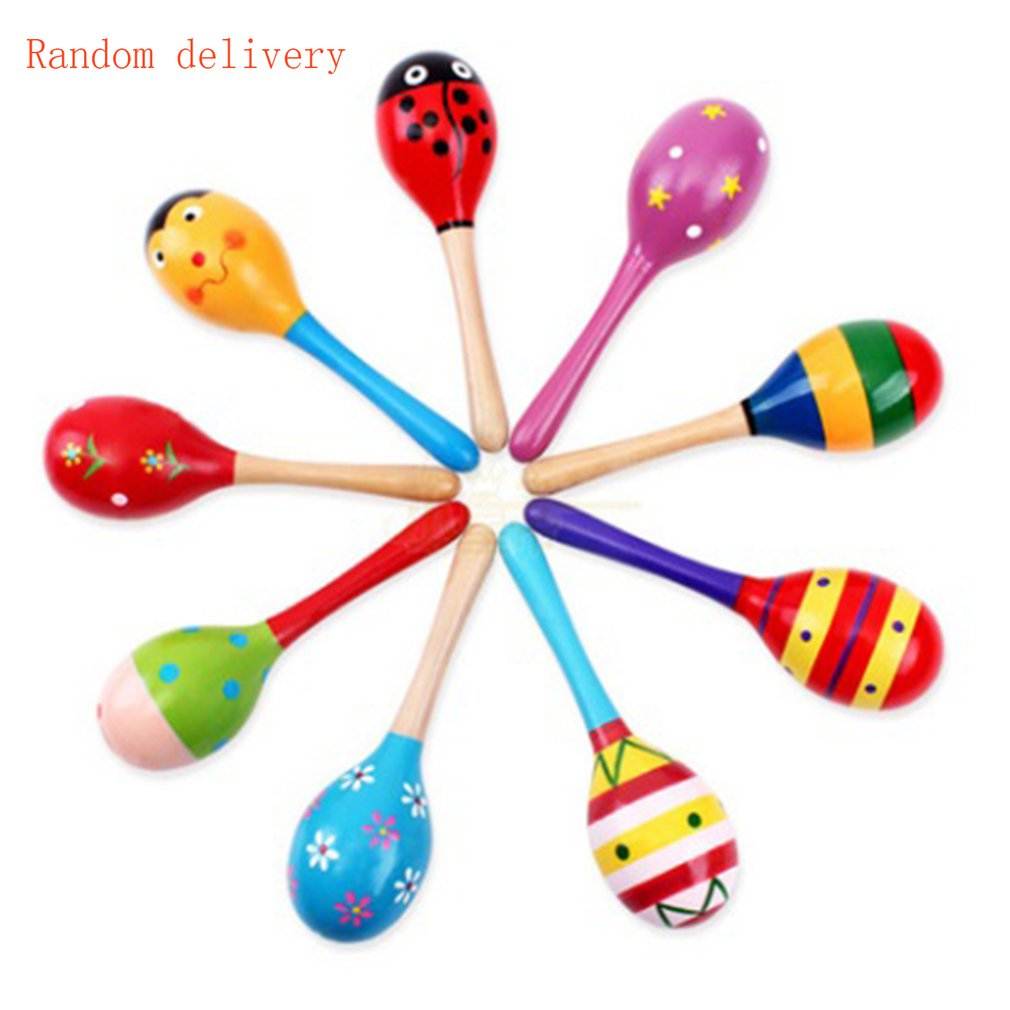 NEW Kids Baby Wooden Toy Maracas Rumba Shakers Musical Party Rattles Hot