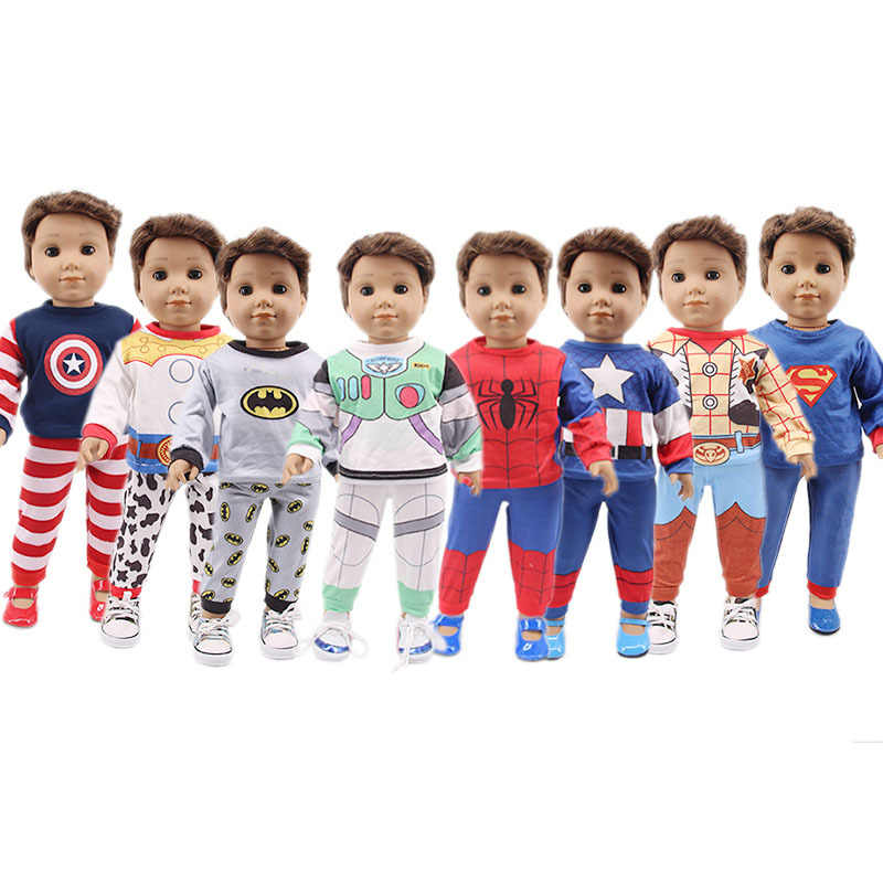 """เสื้อผ้าตุ๊กตา Spider Man 18 """"ตุ๊กตาเด็กผ้า 43 ซม.Baby New Born ตุ๊กตาเด็กเสื้อผ้า Outlet เด็กสาววันเกิดปีใหม่ของขวัญ"""