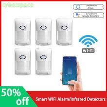 Tuya inteligente wifi alarme mini detector infravermelho sensor de movimento inteligente trabalho com o google casa alexa