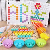 Enfants Montessori jouets en bois mains cerveau formation Clip perles baguettes perles jouets début éducatif Puzzle conseil mathématiques jeu jouets