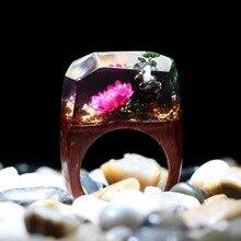 Nuevo diseño, anillo de resina hecho a mano, anillos transparentes de madera coloridos para hombre y mujer