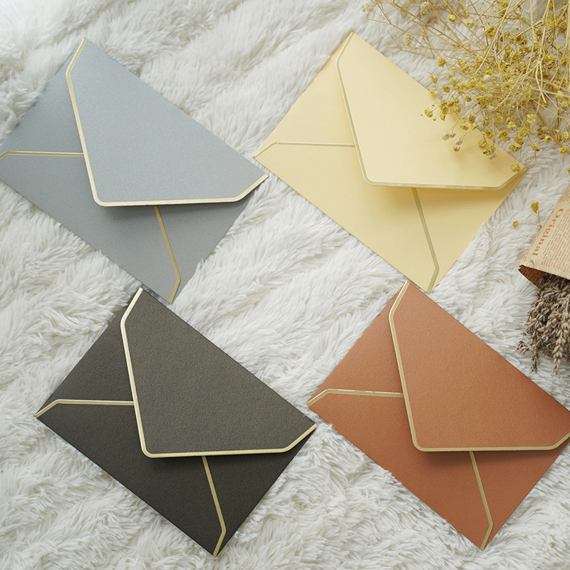 40 Pcs/lot Pearly Paper Bronzing Edge Envelopes Cute Envelope For Card Scrapbooking Gift