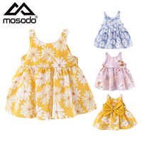Children Summer Dress For Girls Toddler With Sun Hat Flowers Cute Bow Knot Sleeveless Dresses Breathable Baby Clothes Newborn