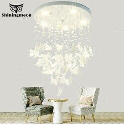 Nowoczesny artystyczny haft kryształkowy motyl żyrandol francuski luksusowy salon jadalnia lampa wisząca Hotel Lobby światła wiszące w Wiszące lampki od Lampy i oświetlenie na