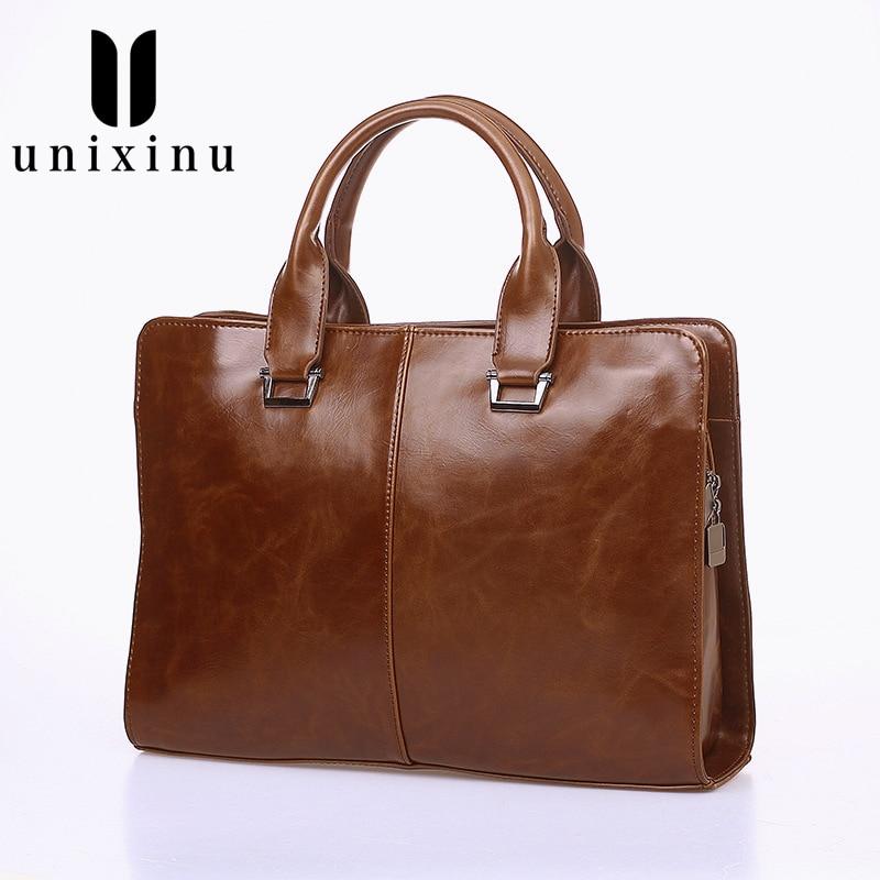 Fashion Simple Famous Brand Business Men Briefcase Bag Leather Laptop Bag Male Crossbody Laptop Bag Travel Leather Handbag