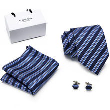 купить New Gold Blue Striped Tie Silk Woven Men Tie Necktie Hanky Cufflinks Set Luxury Men's Party Wedding Pocket Square Tie по цене 271.6 рублей