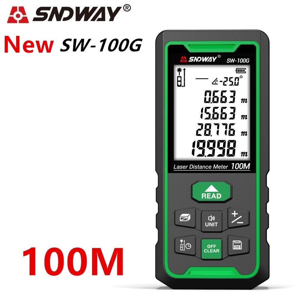 Sndway trena laser telêmetro laser verde medidor de distância régua range finder 100m 70m 50m fita métrica roleta nível eletrônico
