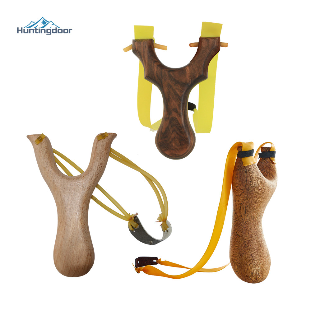 Powerful Slingshot Super Velocity Hunting Slingshot Catapult Outdoor Games Sling Hunting Quaint Pure Solid Wooden Handle Boy Gif