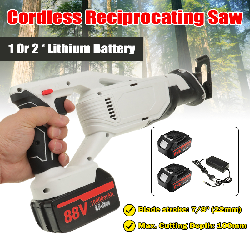 88V Electric Cordless Reciprocating Saw Electric Saw With Battery and 4 Pieces Blades Woodworking Saw Metal Saw Power Tools