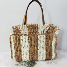 Striped Straw Bag 2020 New Hand Bag Seaside Holiday Style Handmade Woven Bag Female Straw Totes Shoulder Bag(China)