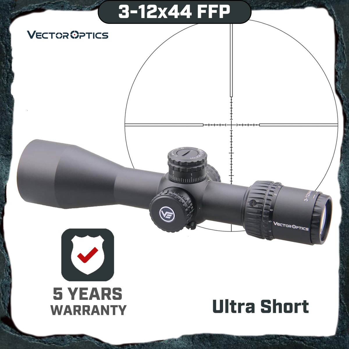 Vector Optics Veyron FFP 3-12x44 Ultra Compact Air Gun Riflescope Scope First Focal Plane .223 7.62 AR15 Air Rifle 1/10 MIL