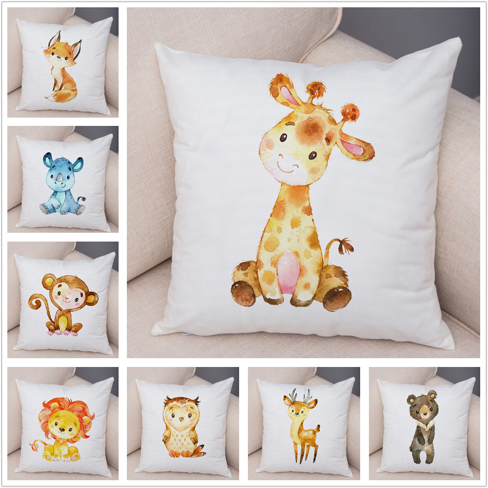 Nordic Lion Giraffe Fox Monkey Owl Pillow Case Decor Cute Cartoon Animal Cushion Cover For Sofa Pillowcase Pillow Covers 45x45cm