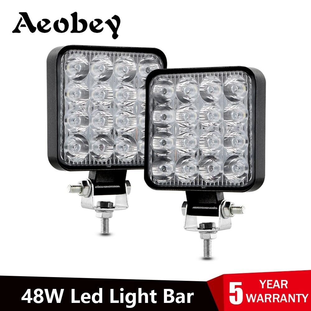 Led light bar 48w Led bar 16barra Led car light For 4x4 led bar offroad SUV ATV Tractor Boat Trucks Excavator 12V 24V work light(China)