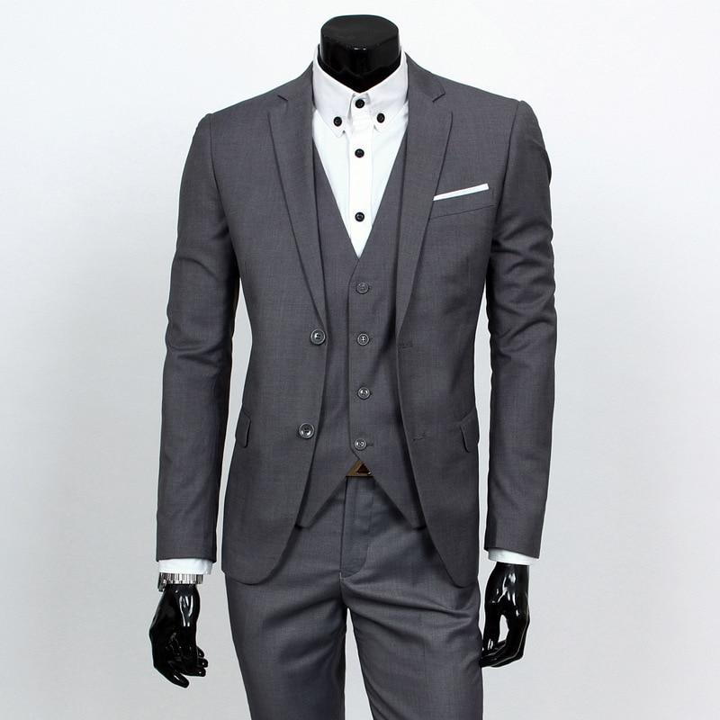 2018 Spring Clothing Business Leisure Suit Three-piece Set Groom Best Man Wedding Suit Set Acid Blue Xy05