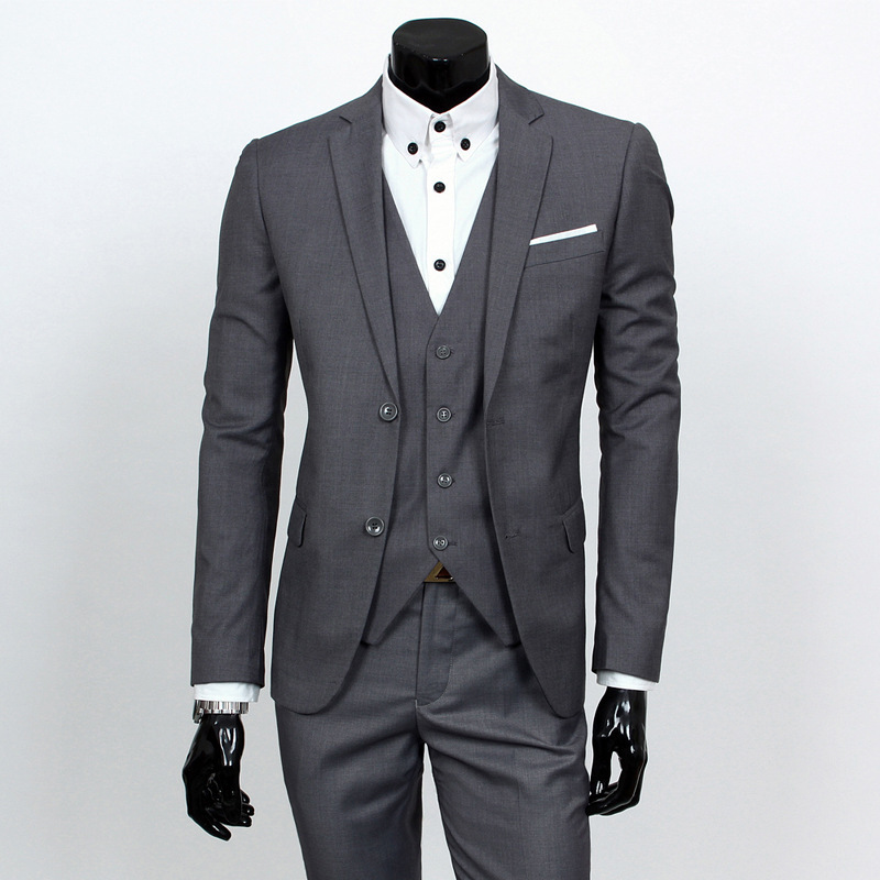 Spring Clothing Business Leisure Suit Three-piece Set Groom Best Man Wedding Suit Set Acid Blue Xy05