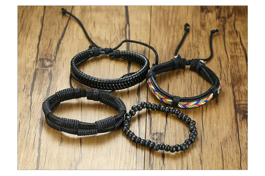 Hba24049c043f4ac394f6669f5854bbe6m - Vnox 4Pcs/ Set Braided Wrap Leather Bracelets for Men Vintage Life Tree Rudder Charm Wood Beads Ethnic Tribal Wristbands