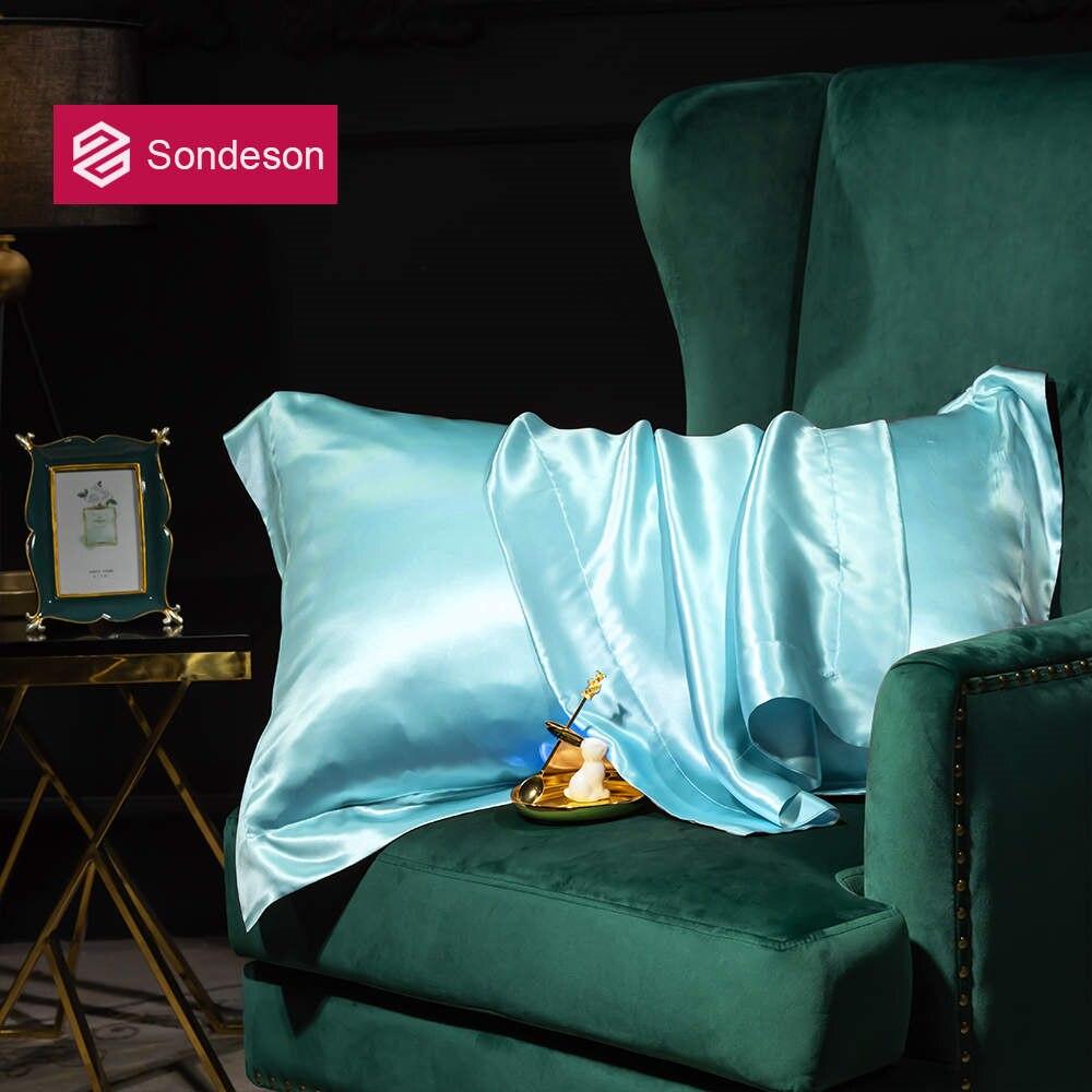 Sondeson Beauty 100% Silk Light Blue Pillowcase 25 Momme Silk Healthy Pillow Case Silky Luxury Pillow Shams For Home Textiles