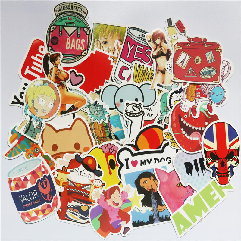 Image 3 - TD ZW  50pcs Random Mixed Sticker for Snowboard Laptop Luggage Car Fridge Car  Styling Vinyl Decal home decor Stickers Pegatinas-in Stickers from Toys & Hobbies
