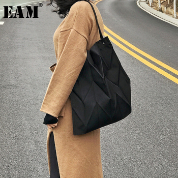 [EAM] Women New Canvas Brief Pleated Split Joint Personality Accessories Fashion Tide All-match Spring Autumn 2020 1D349
