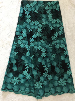 Green Luxury African Lace Fabric 2020 High Quality Lace French Net Embroidery Tulle Lace Fabric For Nigerian Party Dress KCD9420