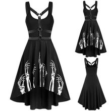Goth Dark Harajuku Black Dress Women Gothic Spaghetti Strap Backless Off Shoulder Dresses Female Fashion Casual Print Sexy Dress(China)