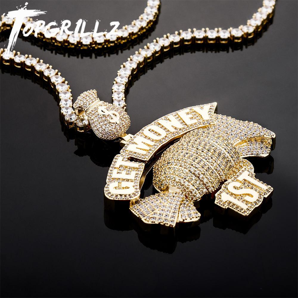 """TOPGRILLZ-collar con colgante de caramelo para hombre y mujer, bolsa de dinero con gancho """"GET Money"""", cadena de tenis dorada, Hip Hop, Punk, joyería"""