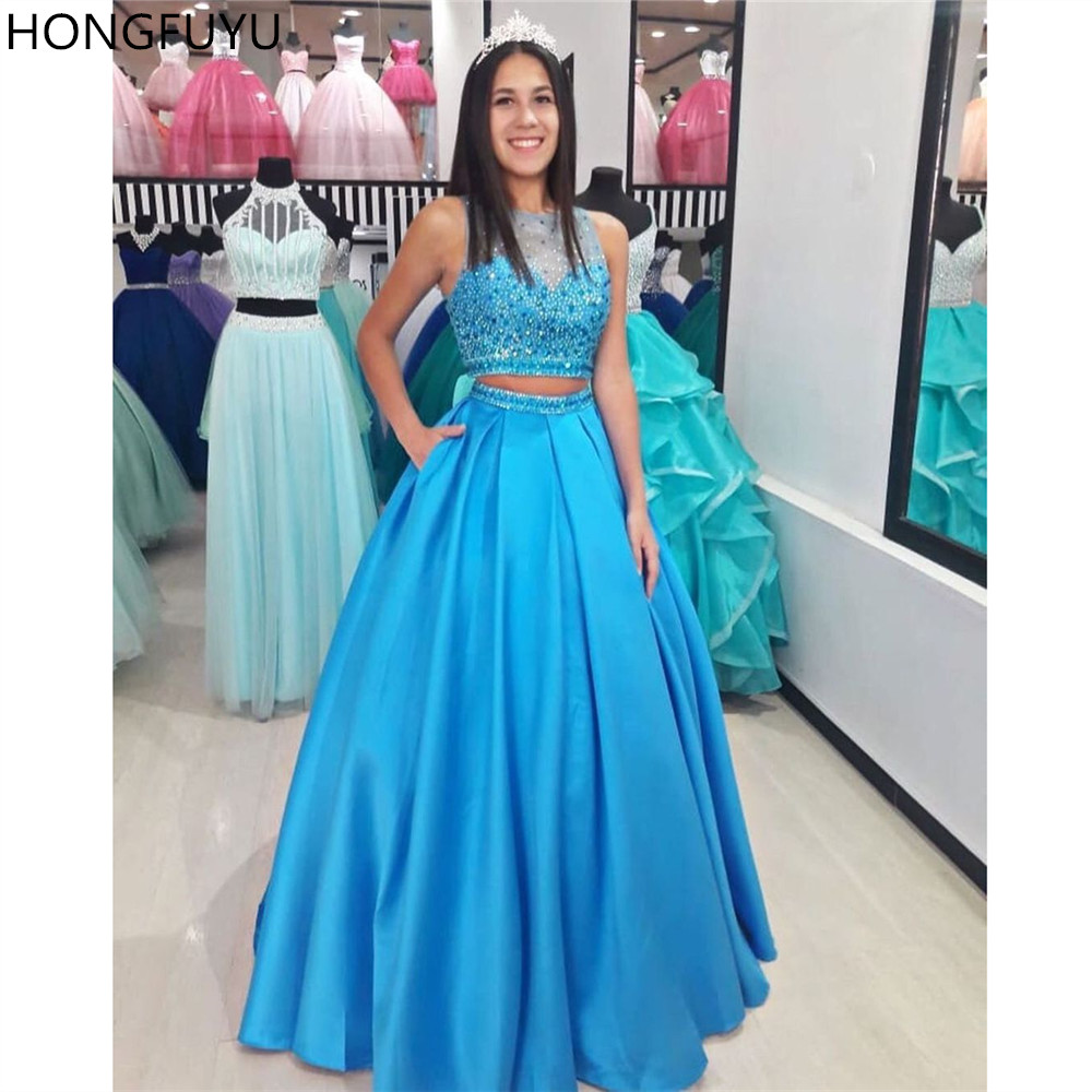 HONGFUYU Women's Prom Dress Two Piece Beaded Crystals Formal Party Sleeveless Long Pageant Dresses Ball Gown Pockets Satin Blue