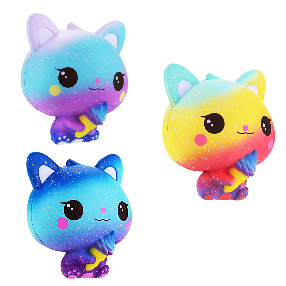 Squishy Galaxy Cat Scented Charm Slow Rising Squeeze Stress Reliever Toy Pinch Pressure Decompression Toy L107