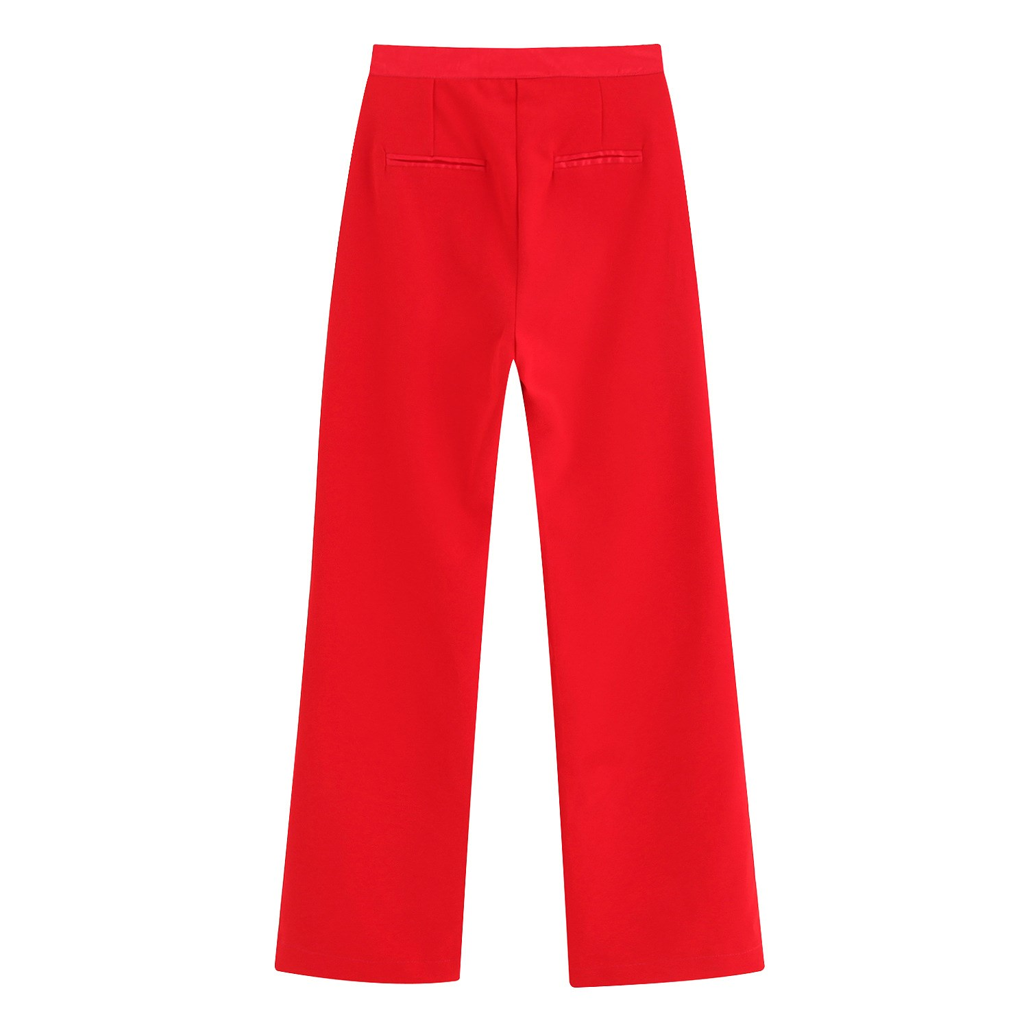 Women Red Elegant High Waist Trousers Casual Loose   Wide     Leg     Pants   Zipper Office Ankle-Length Straight   Pants